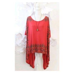 Free People Boho Asymmetric Tunic Knit Top M Red